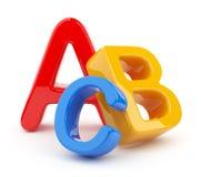 Símbolos coloridos do alfabeto. 3D. Instrução ilustração stock