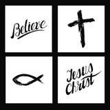 Símbolos cristãos Cruz feito à mão, acredite, Jesus Christ Imagem de Stock
