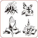 Símbolos cristãos - ilustração do vetor. Fotos de Stock