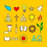 Símbolos cristianos e iconos dibujados a mano Ejemplo bíblico del vector libre illustration