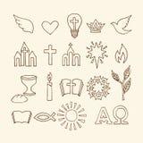 Símbolos cristianos e iconos dibujados a mano Ejemplo bíblico del vector stock de ilustración