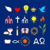 Símbolos cristianos e iconos dibujados a mano Ejemplo bíblico del vector ilustración del vector