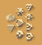 símbolos 3d geométricos ilustração royalty free