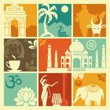 Símbolos da Índia ilustração stock