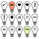 Símbolos da ampola com vários ícones da ideia ilustração royalty free