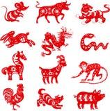12 símbolos da astrologia Foto de Stock