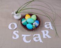 Símbolos da celebração de Ostara fotografia de stock royalty free