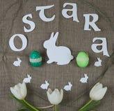 Símbolos da celebração de Ostara foto de stock