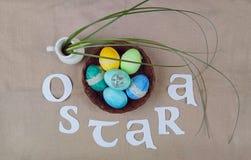 Símbolos da celebração de Ostara fotos de stock royalty free