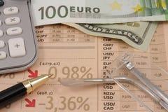 Símbolos da crise financeira Imagem de Stock