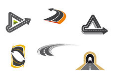 Símbolos da estrada e da estrada Fotografia de Stock Royalty Free