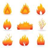 Símbolos da flama e de incêndio ilustração royalty free