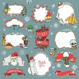 Símbolos da garatuja da estação do Natal, crachás ilustração stock