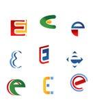 Símbolos da letra de E ilustração do vetor