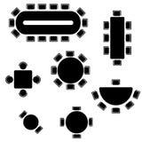 Símbolos da mobília do negócio usados no grupo dos ícones dos planos da arquitetura, vista superior, elementos do projeto gráfico ilustração do vetor