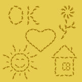 Símbolos da pegada na areia Imagens de Stock Royalty Free