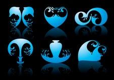 Símbolos da reflexão da água no fundo preto ilustração royalty free
