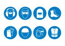 Símbolos da segurança de construção Foto de Stock