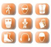 Símbolos da segurança de construção Imagem de Stock Royalty Free