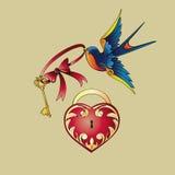 Símbolos da tatuagem da velha escola Fotos de Stock Royalty Free