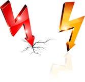 Símbolos de advertência da eletricidade. Foto de Stock Royalty Free