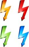 Símbolos de advertência da eletricidade. Imagem de Stock