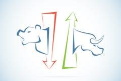 Símbolos de Bull y del oso con las flechas, el mercado de acción y el concepto verdes y rojos del negocio Foto de archivo libre de regalías