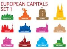 Símbolos de capital europeos Fotografía de archivo