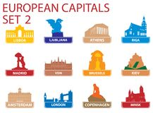 Símbolos de capital europeus Imagem de Stock Royalty Free