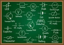 Símbolos de circuito eléctrico en la pizarra