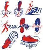 Símbolos de corrida da maratona Ilustração do vetor fotografia de stock royalty free