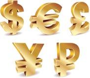 Símbolos de dinero en circulación Imagen de archivo