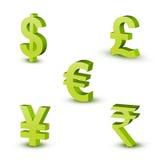 Símbolos de dinero en circulación Foto de archivo libre de regalías