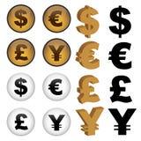 Símbolos de dinero en circulación Imagen de archivo libre de regalías