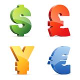 Símbolos de dinero en circulación Imagenes de archivo