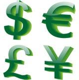 Símbolos de dinero en circulación Foto de archivo