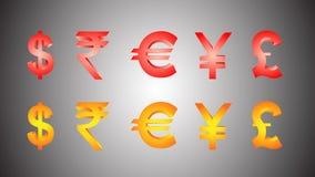 símbolos de dinero en circulación 3D Stock de ilustración