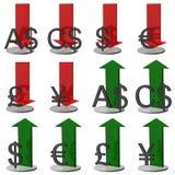 símbolos de dinero en circulación 3D Fotografía de archivo libre de regalías