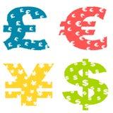 Símbolos de dinero en circulación de Grunge Imagen de archivo