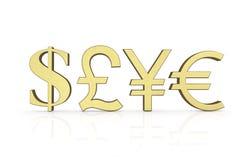 Símbolos de dinero en circulación de oro Imágenes de archivo libres de regalías