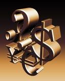 Símbolos de dinero en circulación del mundo Imagen de archivo libre de regalías