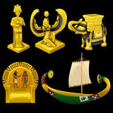 Símbolos de Egipto, de monumentos, y de otros artículos ilustración del vector