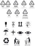 Símbolos de empacotamento ilustração stock