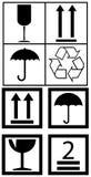 Símbolos de empacotamento da caixa Fotografia de Stock