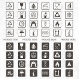 Símbolos de empacotamento do vetor Grupo de envio do ícone que inclui a reciclagem, frágil, a vida útil do produto, companheiro i ilustração stock