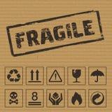 Símbolos de empacotamento no cartão Ícones do vetor Imagens de Stock Royalty Free