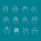 Símbolos de estados da mente humana Imagens de Stock
