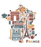Símbolos de França sob a forma de um mapa Foto de Stock Royalty Free