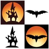 Símbolos de Halloween - castelo e bastão Imagem de Stock Royalty Free