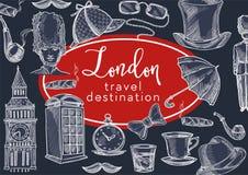 Símbolos de Inglaterra del destino del viaje de Londres y el viajar de la cultura stock de ilustración